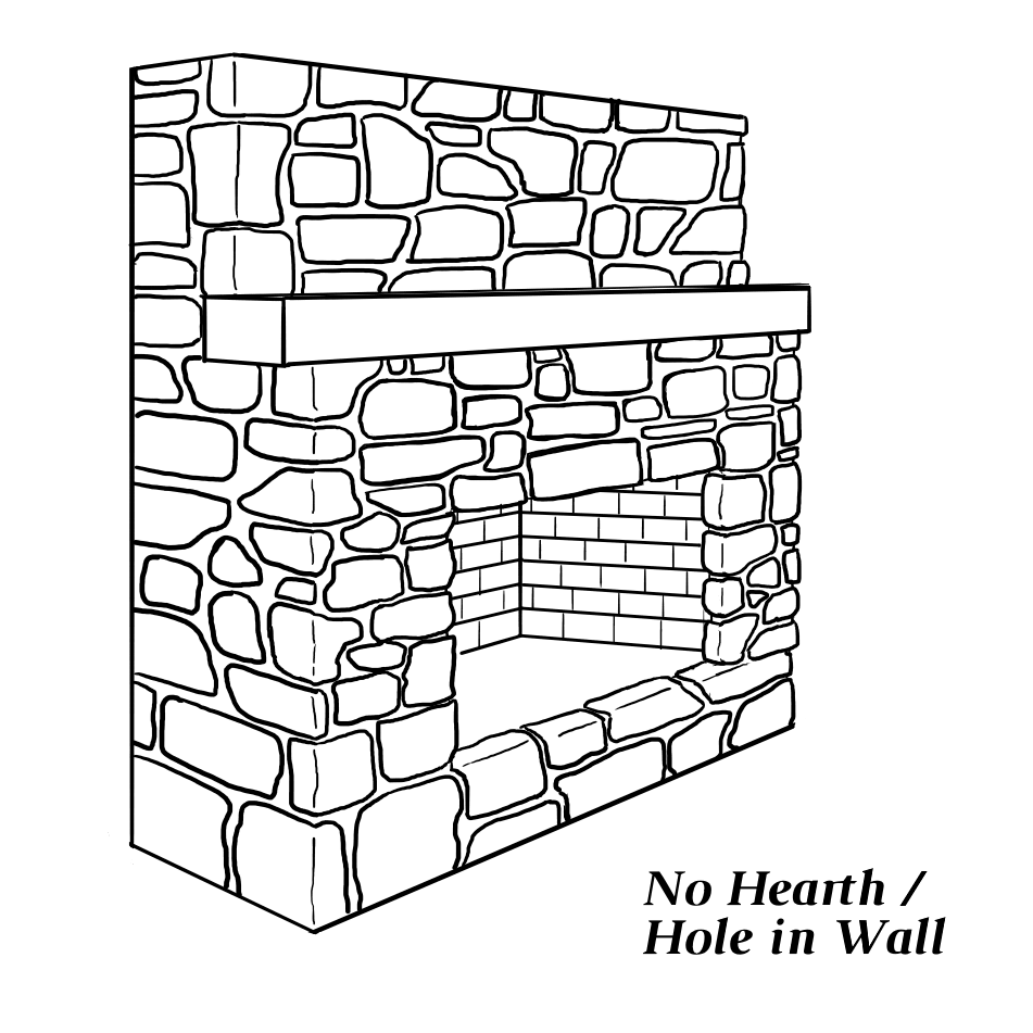 Fireplace with no hearth (hole in the wall)