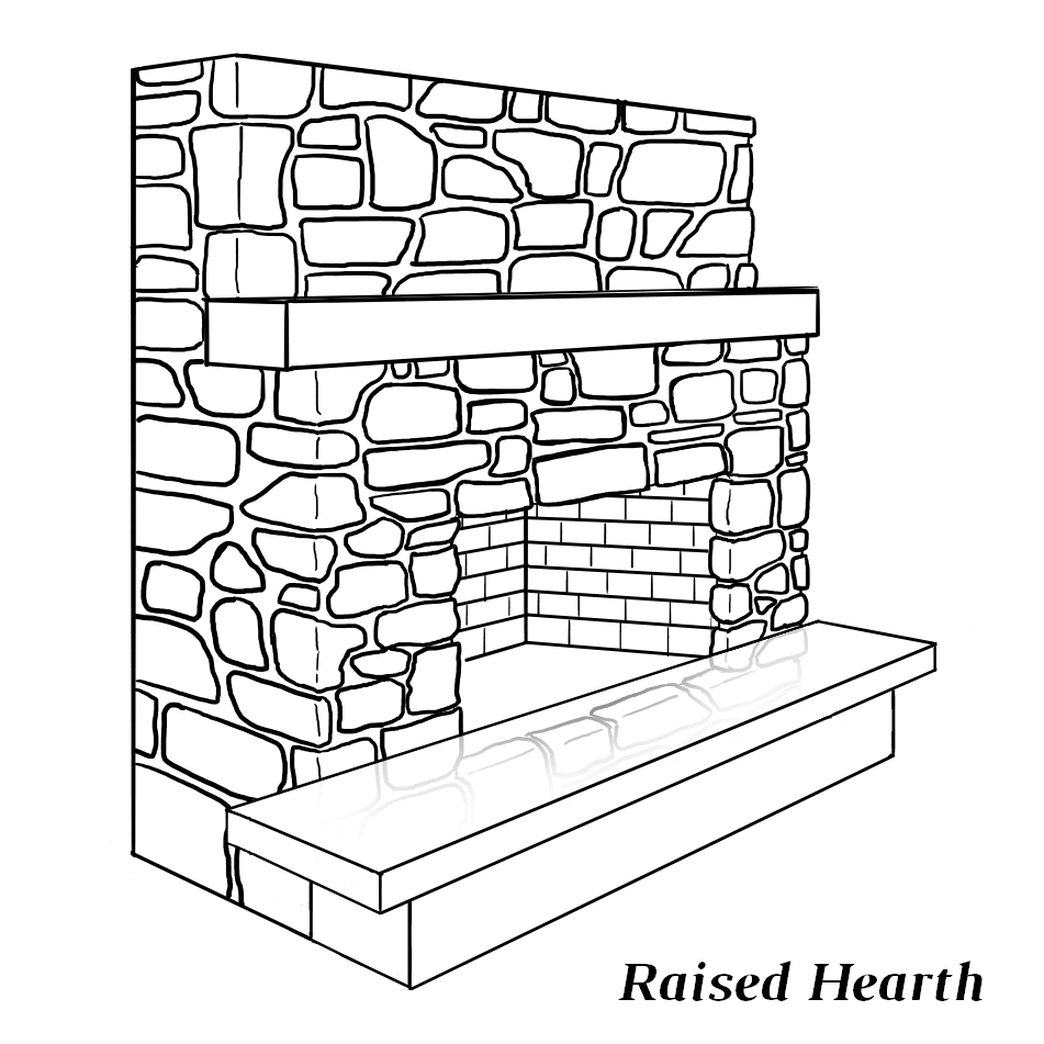 Fireplace with raised hearth (above the firebox)