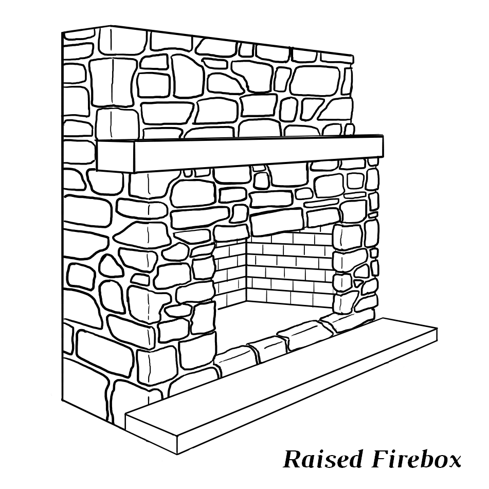 Fireplace with raised firebox (hearth is below the firebox))