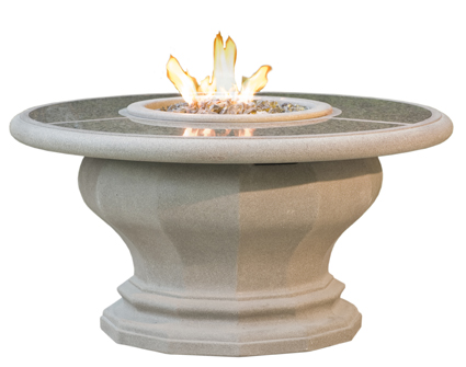 Granite top shown on the inverted fire table