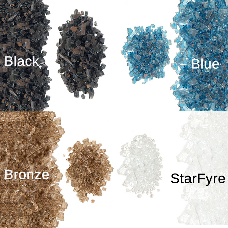 Fire glass color options for American Fyre Designs