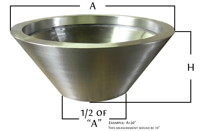 Dimensions for round fire pot