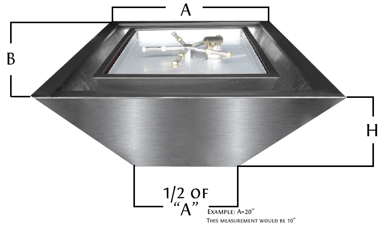 Dimensions for square stainless steel fire pot