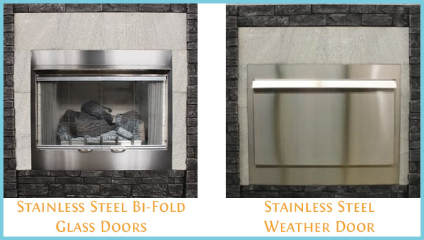 Stainless Steel Door Options for the Carol Rose Outdoor Gas Fireplaces