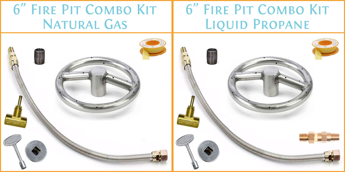 6 Inch Burner Kit showing what you receive with the different fuel options
