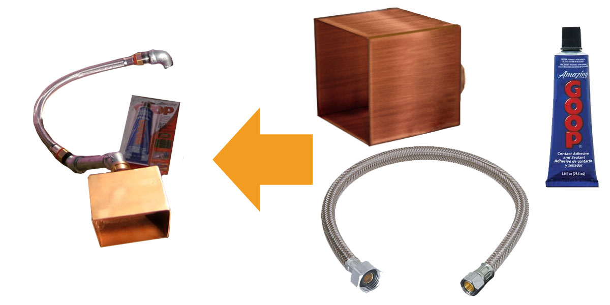 Spillway kit contains a copper scupper, a braided flex hose, and Amazing Goop.