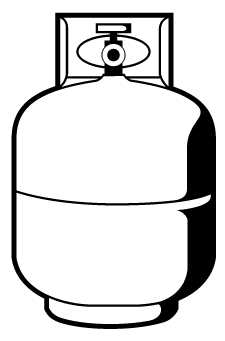 Unit can be used with a small 20 gallon propane tank