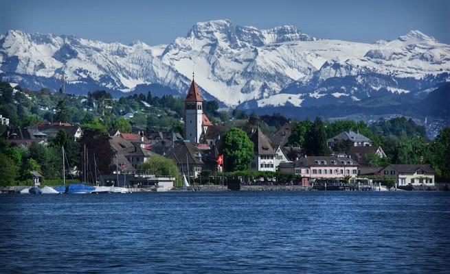Chris's hometown - Kusnacht, Switzerland, as seen from Lake Zurich