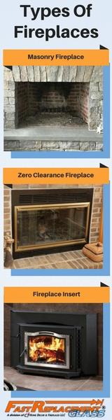 Masonry fireplace, zero clearance fireplace and a fireplace insert.
