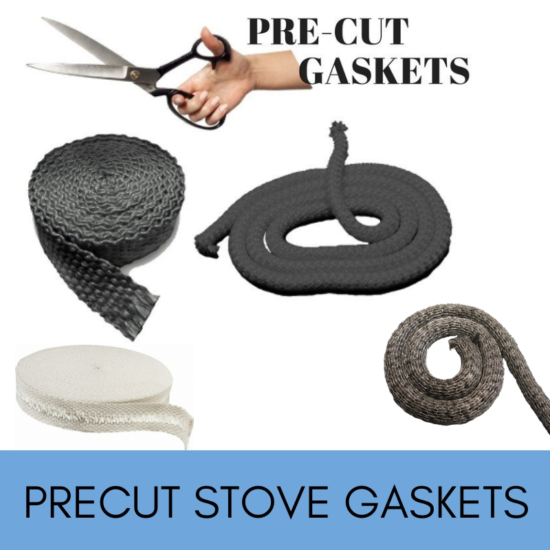 Pre-cut wood stove gaskets