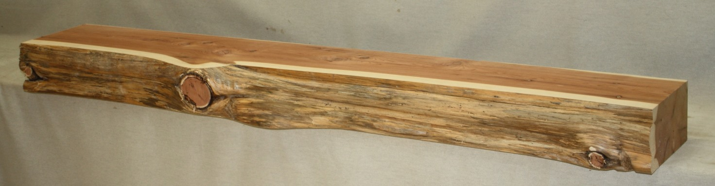 Eastern Red Cedar Mantel with a Natural Facing