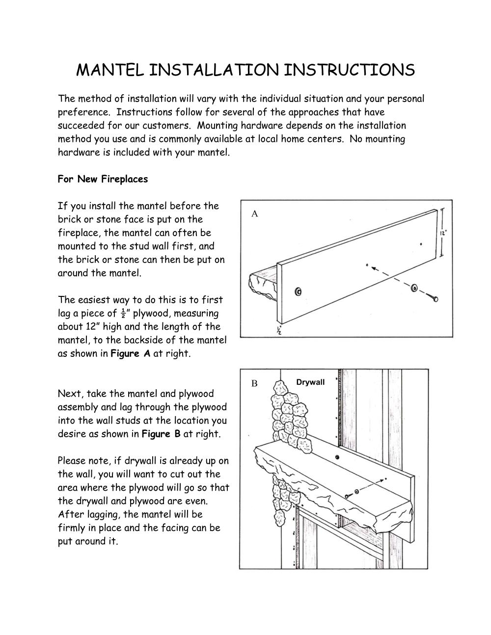 Page 1 of the log mantel installation instructions