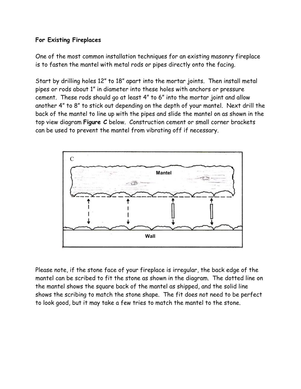 Page 2 of the log mantel installation instructions