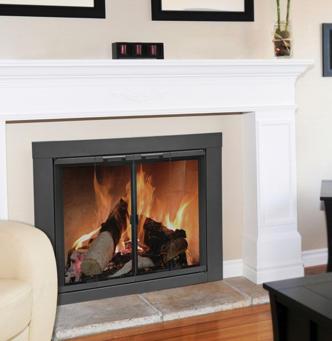 Awesome Carson Masonry Glass Fireplace Doors In Vintage Iron Finish Beutiful Home Inspiration Ommitmahrainfo