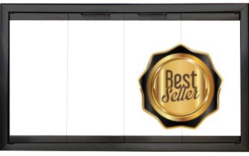 The Pelham Zero Clearance fireplace door features an anodized black frame with bi-fold doors