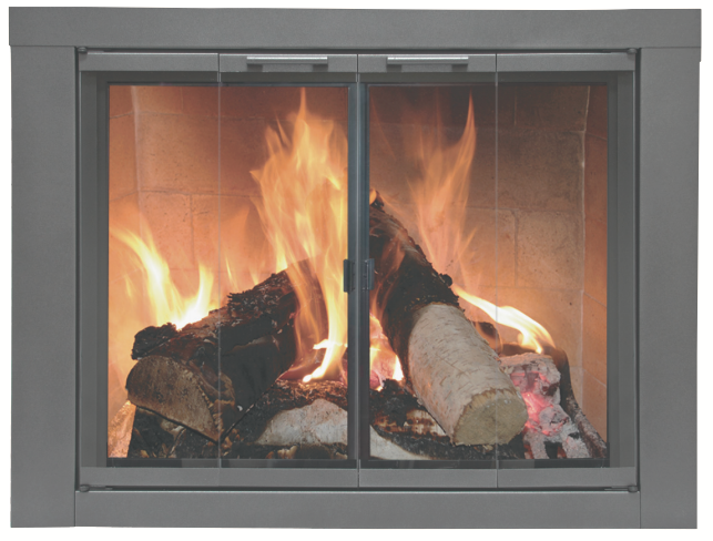 This prefab glass fireplace door is a beautiful addition to any fireplace!