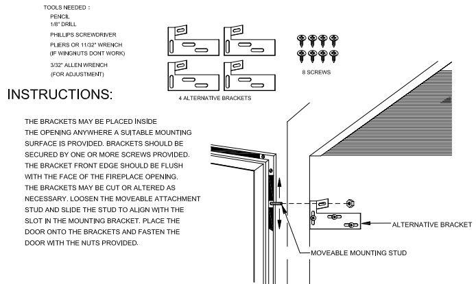 Prefab Fireplace Door Alternative Mounting Hardware Kit