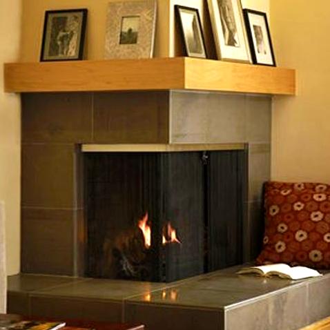 Custom Corner Fireplace Recessed Screens