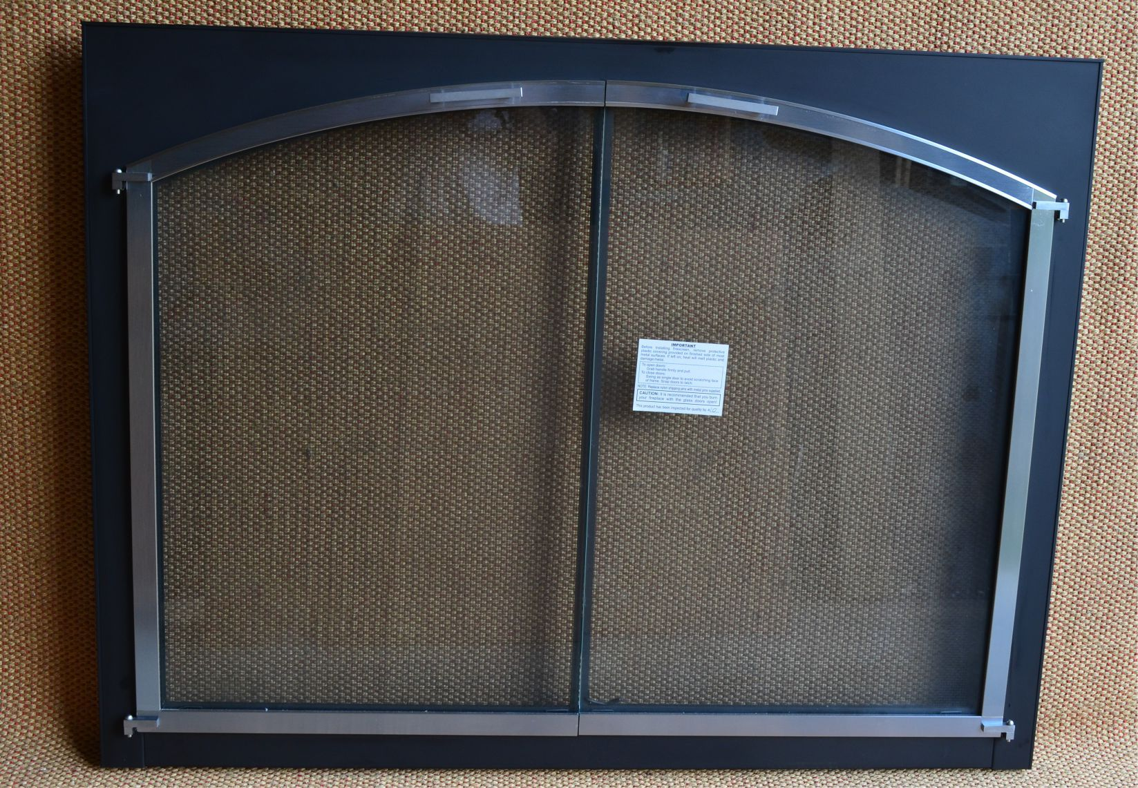 44x33 inch black and chrome arched conversion fireplace door. Black Bedroom Furniture Sets. Home Design Ideas