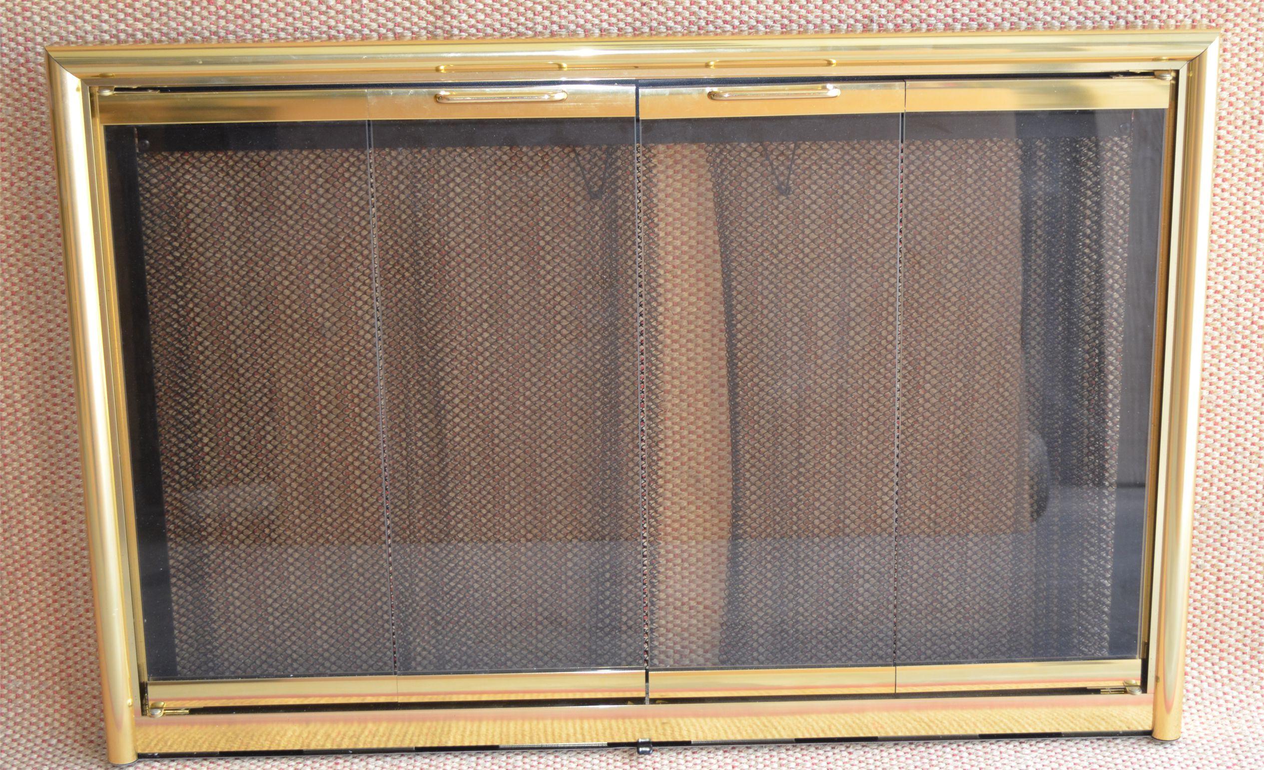 Polished Brass Mystique Fireplace Door 38x25 Inch