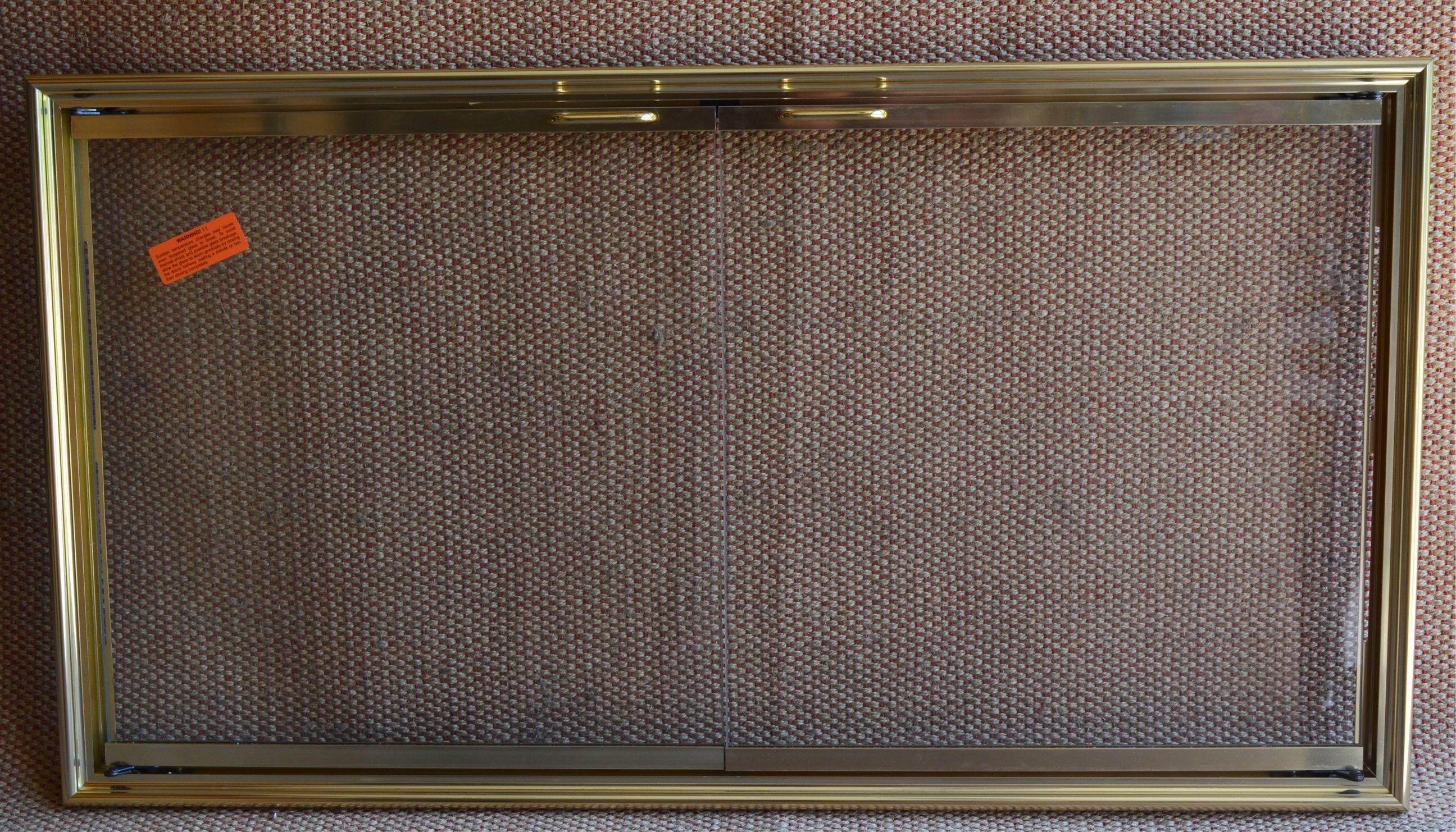 43x23 Inch Polished Brass Shadow Fireplace Door