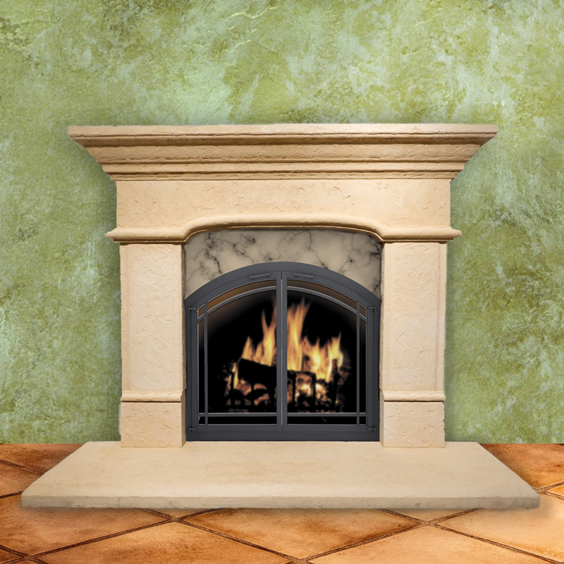 Tuscan Arched Pre Cast Stone Fireplace Mantel