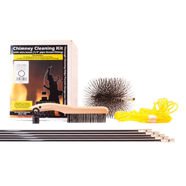 Chimney Cleaning Kit With 6 Inch Round Steel Brush