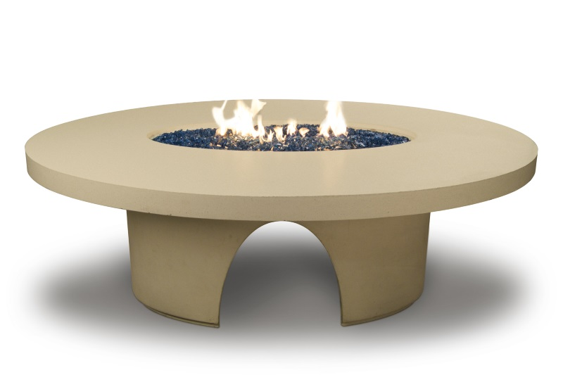 Elliptical Dining Fire Table with Polished Top 82 Inch