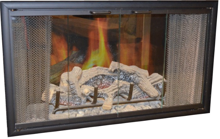 The Nightwell Zero Clearance Fireplace door has a matte black finish and fits more factory built fireplaces