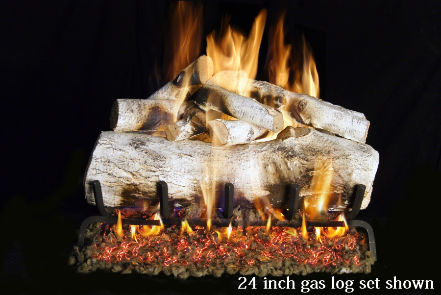 Mountain Birch Double Sided Fireplace Real Fyre Gas Logs