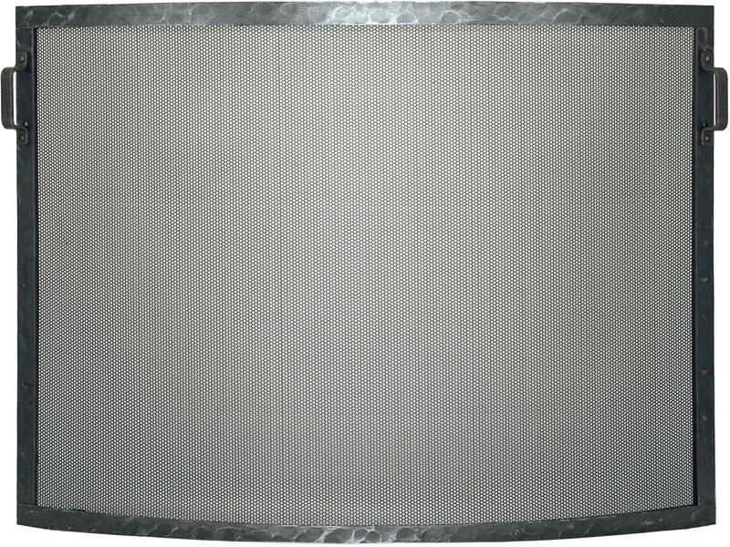 Forged Steel Laramie Convex Single Panel Fireplace Screen