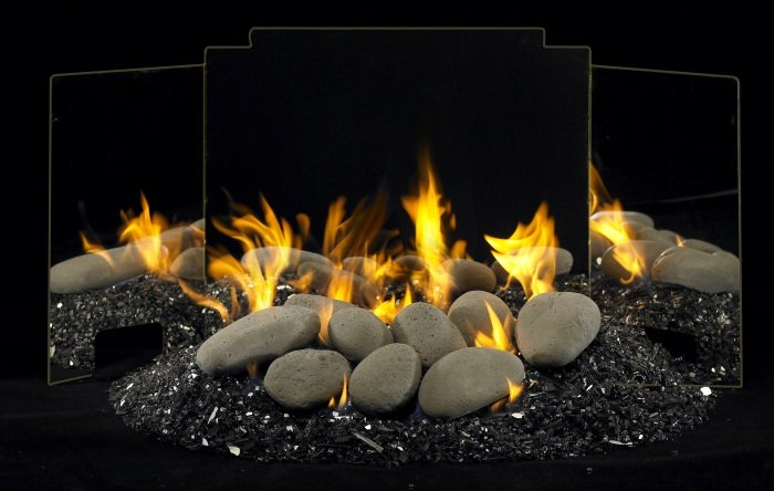 Real Fyre River Rock Vented Contemporary Gas Set