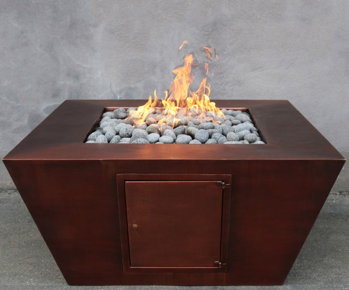 Amere Propane Or Natural Gas Fire Pit In Copper Finish