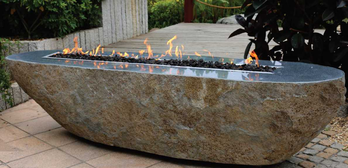 Boulder Fire Table Made of Granite