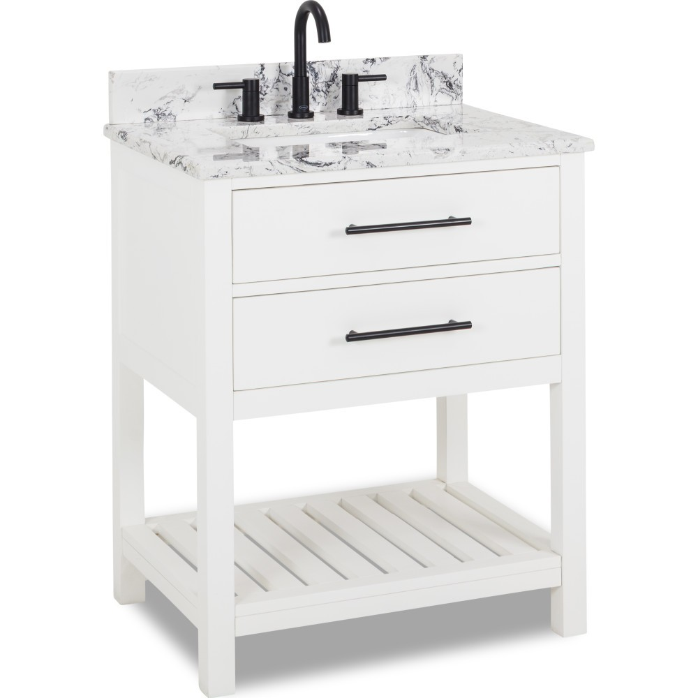 White Wavecrest Bathroom Vanity With Top And Bowl 30 Inch