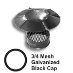 3/4 Inch Mesh Round Black Galvanized Steel Chimney Caps