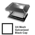 3/4 Inch Mesh Black Square Galvanized Steel Chimney Caps