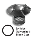 "3/4"" Mesh Round Black Galvanized Steel Chimney Caps"