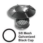 "5/8"" Mesh Round Black Galvanized Steel Chimney Caps"