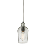 Oil Rubbed Bronze 1-Light Mini Pendant Hammered Clear Glass Shade