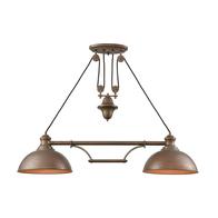 2-Light Adjustable Farmhouse Island Light in Tarnished Brass