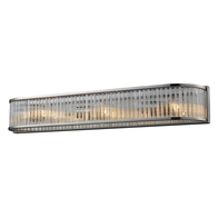 Polished Nickel 3-Light Braxton Vanity Sconce with Ribbed Glass