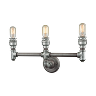 2-Light Cast Iron Pipe Vanity Lamp in Weathered Zinc