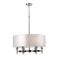 6-Light Pembroke Chandelier with White Fabric Shade