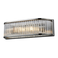 Polished Nickel 2-Light Braxton Vanity Sconce with Ribbed Glass