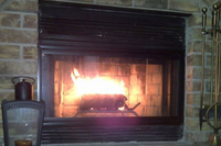 A view of the Pelham fireplace doors just installed in this home