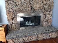 Sentry Contemporary Masonry Fireplace Door in Satin Nickel