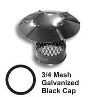 3/4 Inch Mesh Round Black Galvanized Steel Chimney Caps