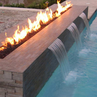 Linear fire pit burner & scuppers