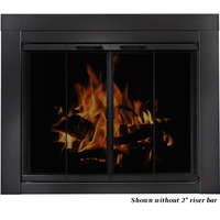 The Ardmore masonry fireplace door features a 16 gauge steel frame with a flat black finish.  - Shown riser bar NOT installed